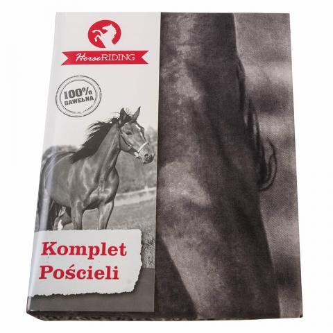 Pościel bawełniana Detexpol koń czarno-biała