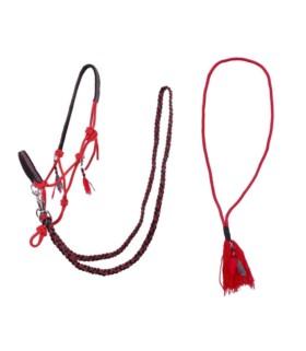 Kantar sznurkowy z wodzami i liną balansową QHP czerwony