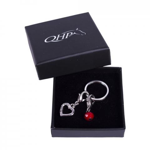 Brelok-przypinka do ogłowia QHP serce srebrne z czerwoną kulką