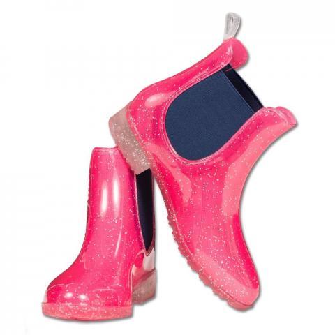 Buty gumowe Sparkle różowe z brokatem