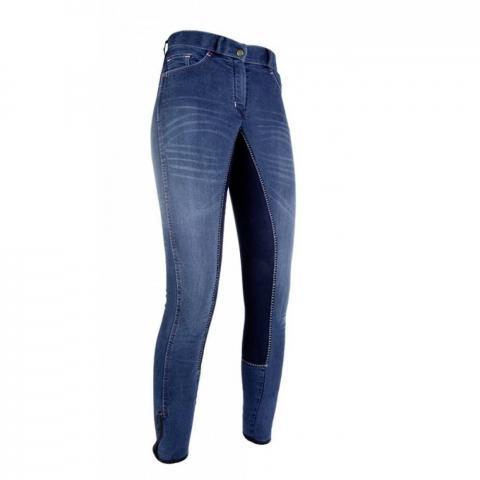 Bryczesy młodzieżowe HKM Summer Denim jeansowy-granatowy