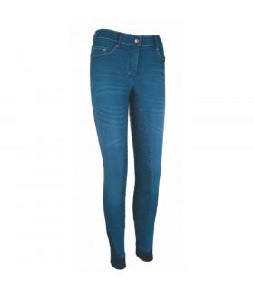 Bryczesy młodzieżowe HKM Summer Denim Easy jeansowy-granatowy