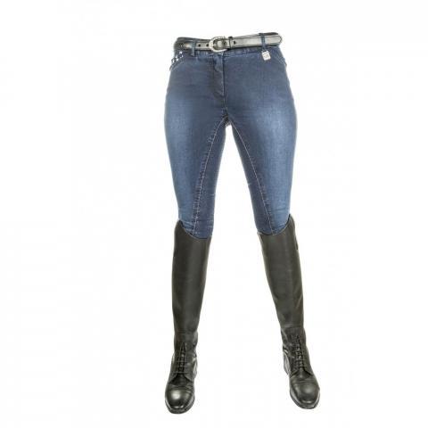 Bryczesy z silikonem HKM Stars & Stripes jeansowe