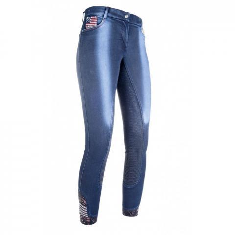 Bryczesy młodzieżowe z silikonem HKM USA Jeggings jeansowe