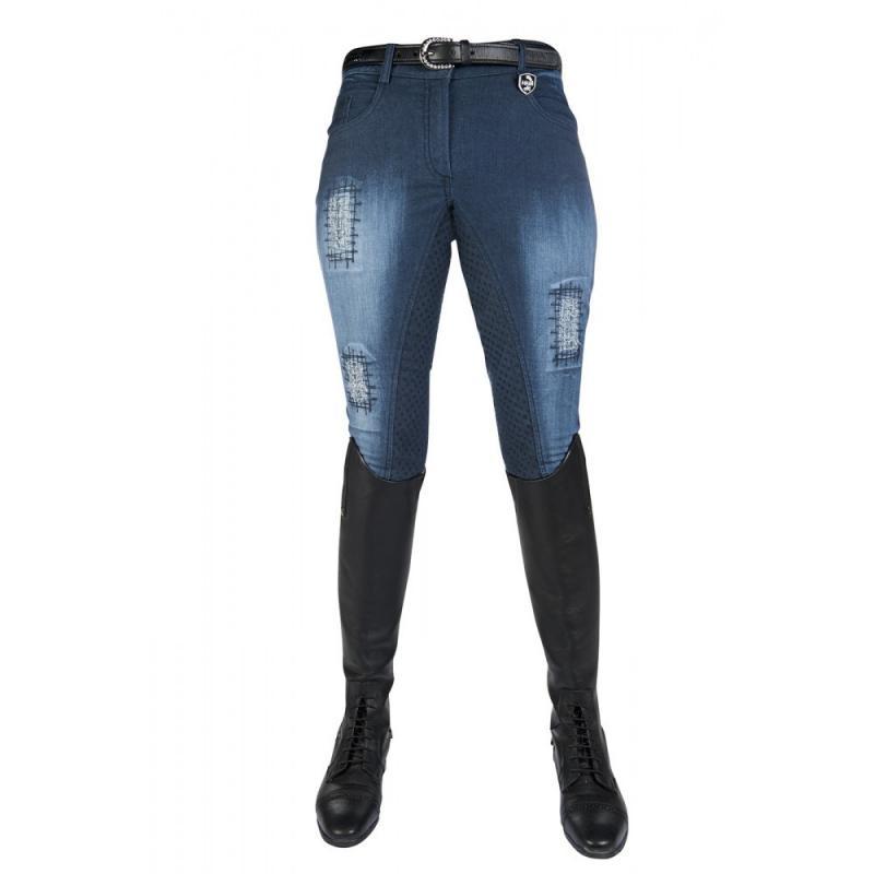 Bryczesy z silikonem HKM Hard Used jeansowe