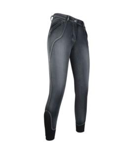 Bryczesy HKM Sedona silikon jeansowe szare