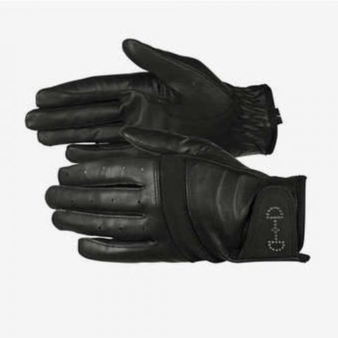 Rękawiczki letnie Horze skórzane czarne
