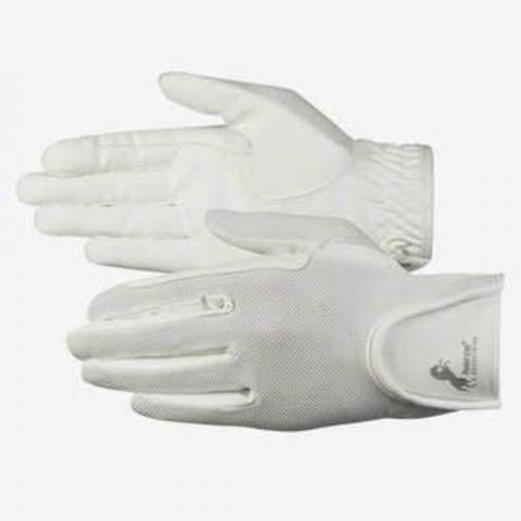 Rękawiczki letnie Horze skórzane białe