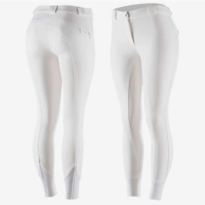 Bryczesy damskie z silikonem Horze Elle białe