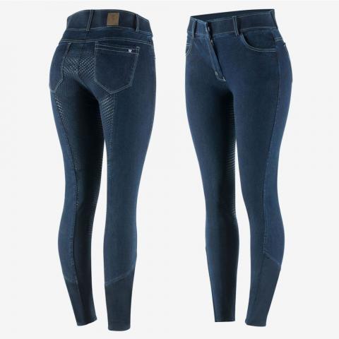 Bryczesy damskie z silikonem Horze Arabella jeans granatowe