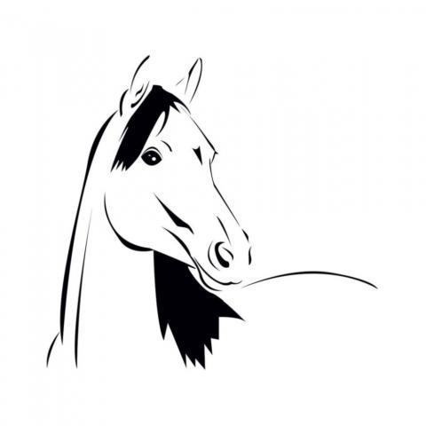 Naklejka York głowa konia czarna
