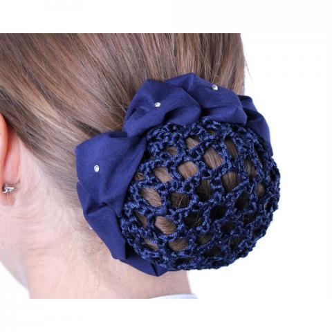 Siatka na włosy kwiatek QHP granatowa