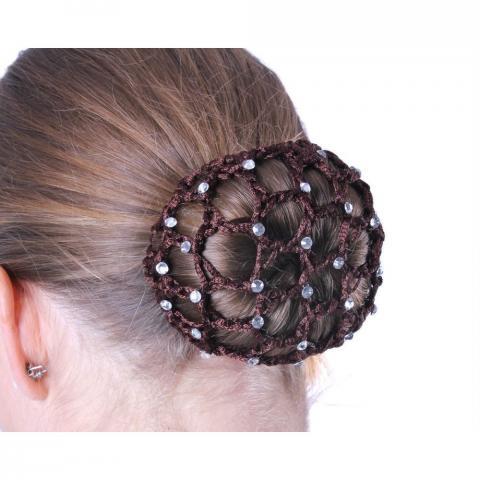 Siatka na włosy z perełkami QHP brązowa