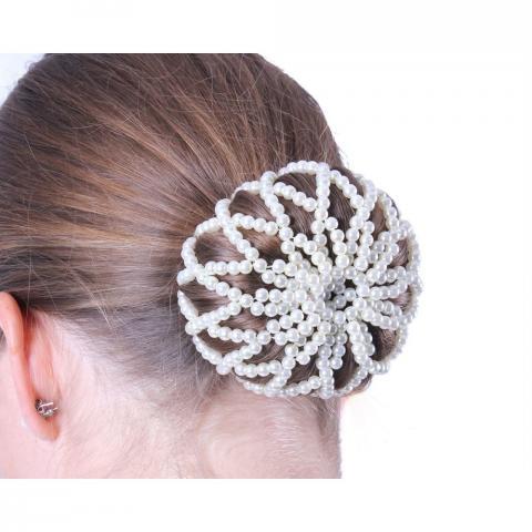 Siatka na włosy z koralików QHP biała