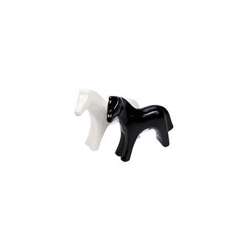Solniczka i pieprzniczka w kształcie konia Ekkia biało-czarna