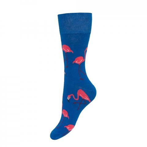 Skarpety Mondo-Calza krótkie niebieskie we flamingi