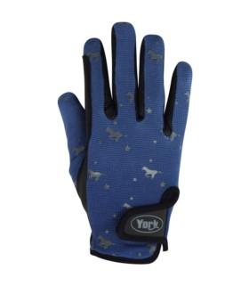 Rękawiczki zimowe York Horsi dziecięce niebiesko-czarne
