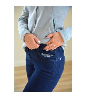 Bryczesy z silikonem Equestrian Queen Havant jeansowe granatowe