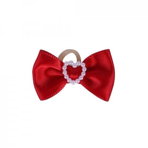 Gumki-kokardki do zaplatania koreczków QHP Heart czerwone