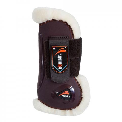 Ochraniacze z futerkiem eQuick eLight No Kill Velcro przód brązowe