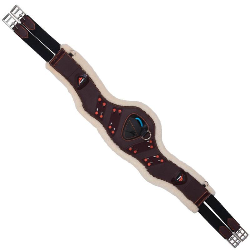 Popręg anatomiczny z futerkiem naturalnym eQuick eSapphire brązowy