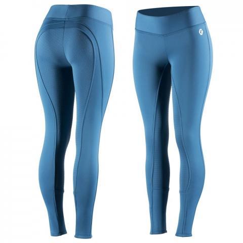 Bryczesy zimowe damskie z silikonem Horze Active niebieskie