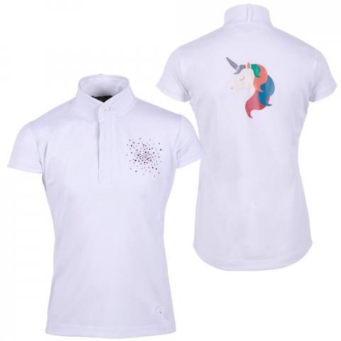Bluzka konkursowa QHP Dorine Junior młodzieżowa white, biała