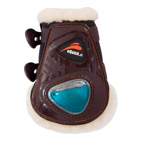Ochraniacze z futerkiem naturalnym eQuick eShock FluidGel tył brązowe