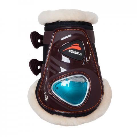 Ochraniacze z futerkiem naturalnym eQuick FluidGel tył brązowe