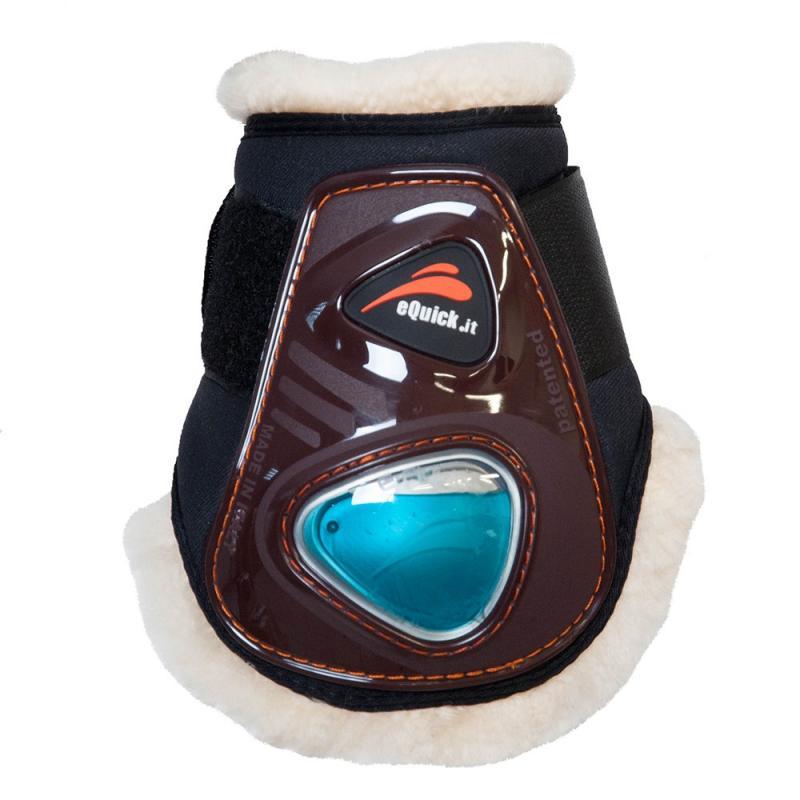 Ochraniacze z futerkiem naturalnym eQuick eShock FluidGel Velcro młode konie tył brązowe