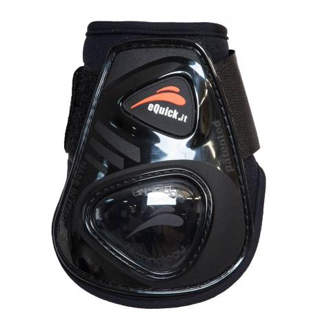 Ochraniacze eQuick eShock FluidGel Velcro młode konie tył czarne z czarnym żelem