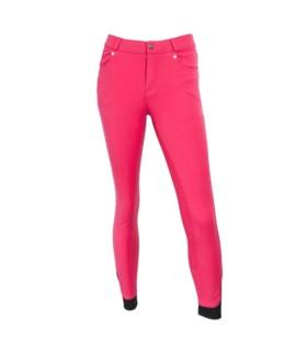 Bryczesy młodzieżowe HKM 5 Pockets silikon różowe