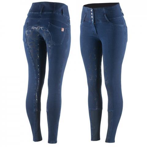 Bryczesy zimowe jeansowe Horze Kasey Limited Edition granatowe