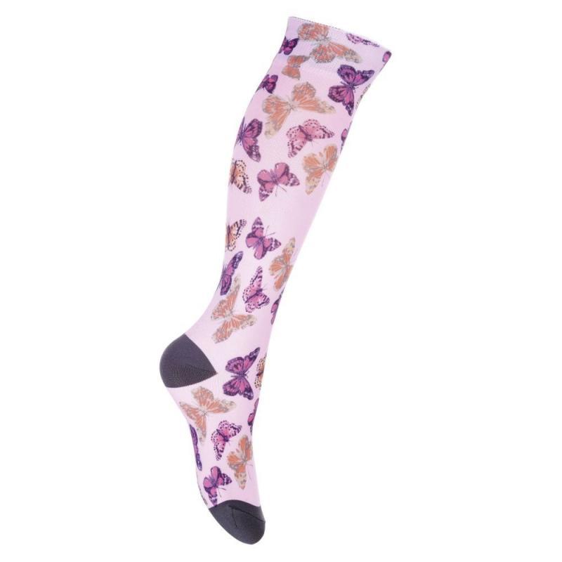 Skarpety HKM Nylon Print motyle One Size różowe
