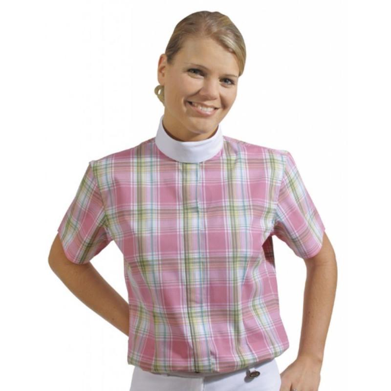 Bluzka konkursowa HKM Elastic kratka różowy-biały-zielony