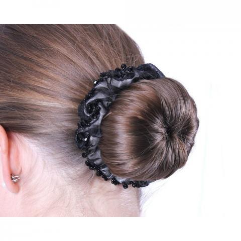Opaska z perełkami na włosy QHP czarna