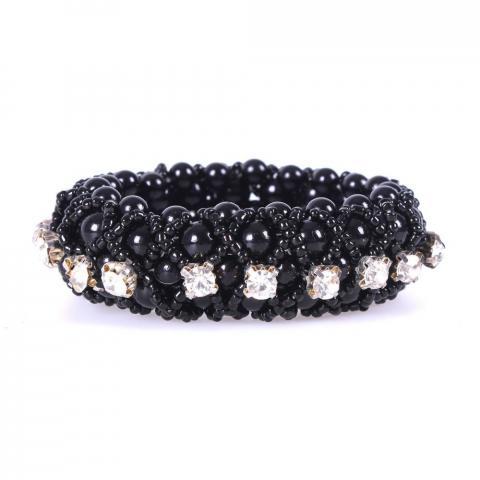 Opaska z diamencikami i perełkami na włosy QHP czarna