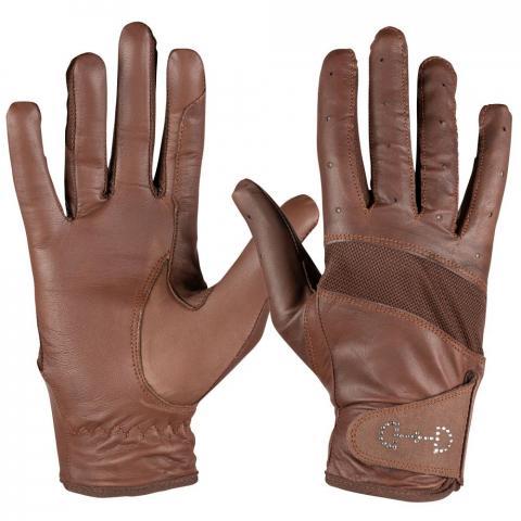 Rękawiczki letnie Horze skórzane brązowe