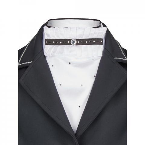 Plastron Busse Lilou z kryształkami biało-czarny
