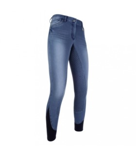 Bryczesy z silikonem HKM Piemont Jeggings niebieskie-jeansowe