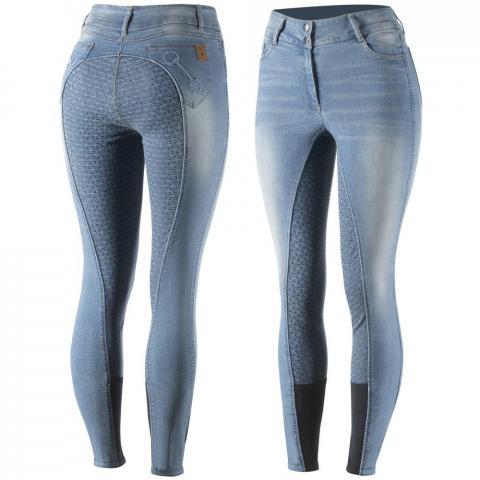 Bryczesy damskie z silikonem Horze Kaia jeansowe