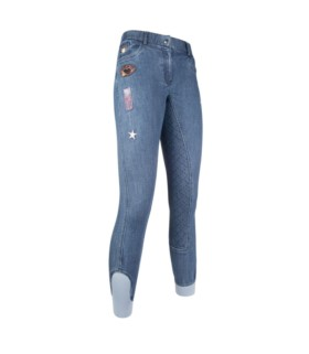 Bryczesy z silikonem HKM Patches Denim jeansowe
