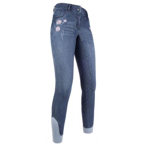Bryczesy z silikonem HKM Flower Denim niebieski jeansowy