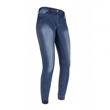 Bryczesy młodzieżowe HKM Jeggings Flower Crystal jeansowe