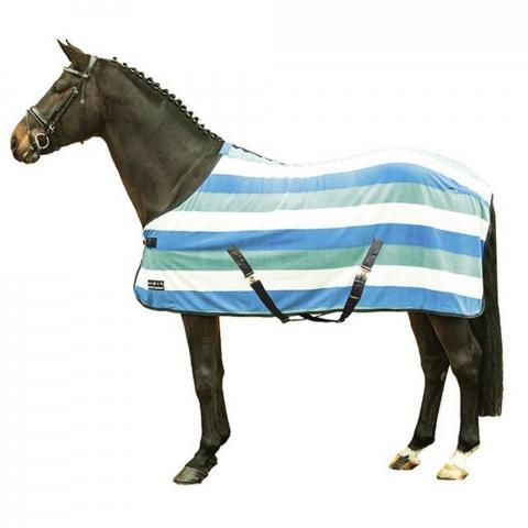 Derka polarowa HKM Fashion Stripes lazurowo-błęktino-kremowa