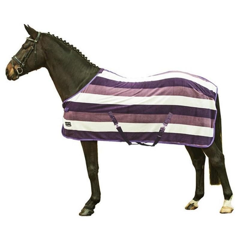 Derka polarowa HKM Fashion Stripes purpurowo-różowo-kremowa