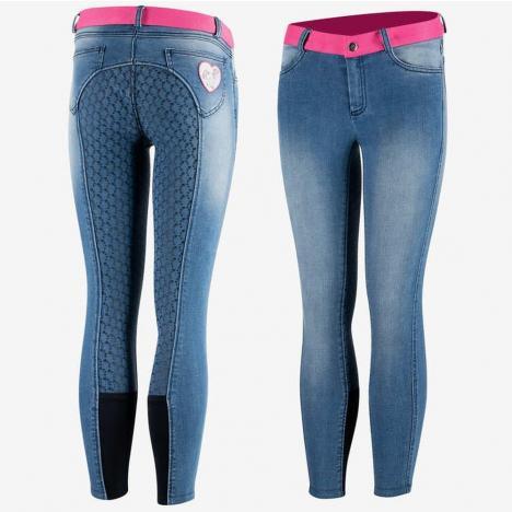 Bryczesy młodzieżowe z silikonem Horze Poppy jeansowe