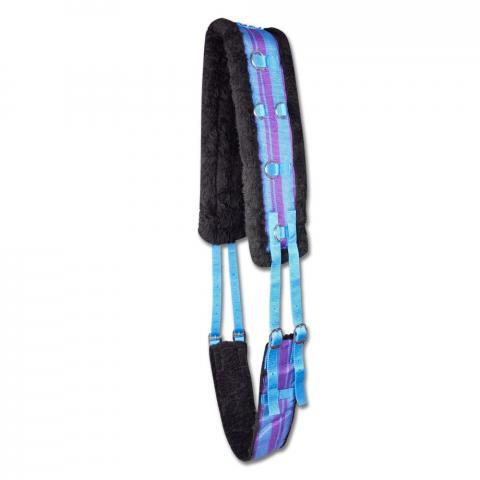 Pas do lonżowania parciany z futerkiem niebieski