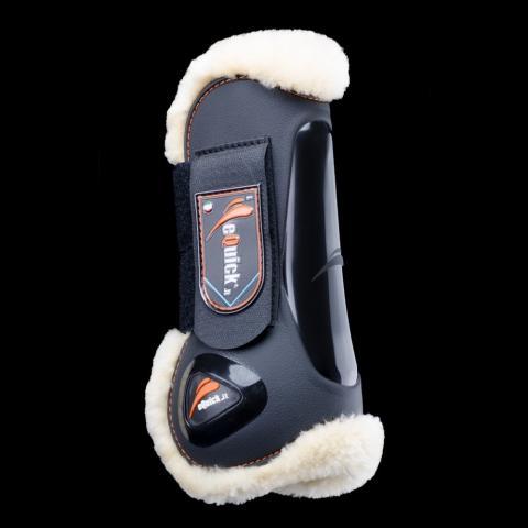 Ochraniacze z futerkiem eQuick eLight Fluffy Velcro przód czarne