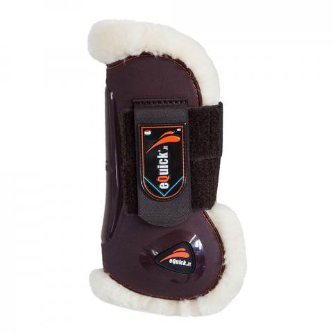 Ochraniacze z futerkiem eQuick eLight Fluffy Velcro przód brązowe